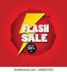 Flash sale banner design template with 3d vector text and 3d thunder.upto 50% off. vector design illustration eps.10