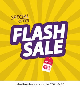 Flash Sale banner. Flash Sale discount up to 45% off. Vector illustration. - Vector