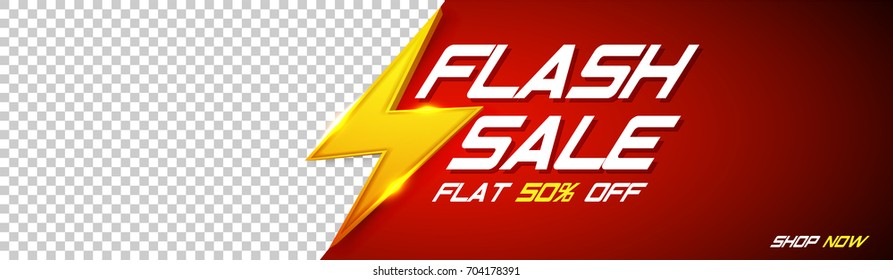 Flash Sale Banner with golden thunder sign on red background and space for your image.