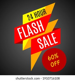 Flash sale banner icon or logo 20-90% of sale