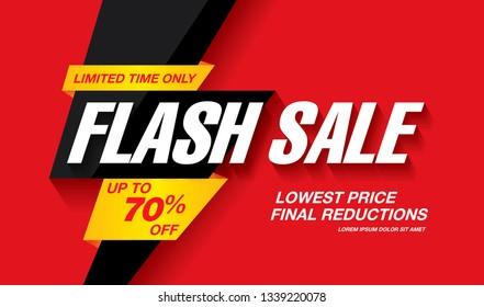 Banner-Design mit Flash-Verkauf, Vektorgrafik