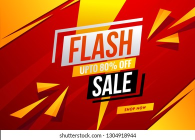 Flash sale banner red template