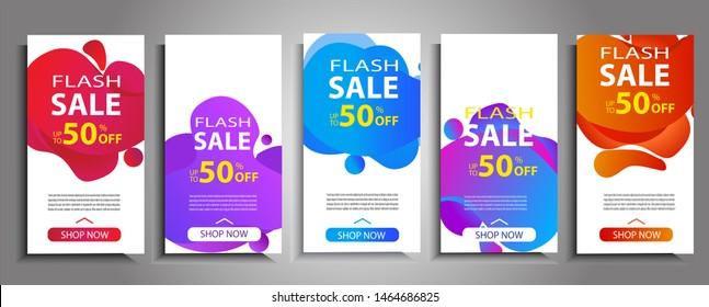 Flash sale banner set. Colorful halftone gradients.background modern template design for ads. Cool gradients. Future advertising template. Eps10. Vector