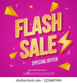 Flash sale banner template design. Abstract sale banner. Vector illustration.