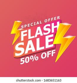 Flash Sale banner template design. Vector illustration.