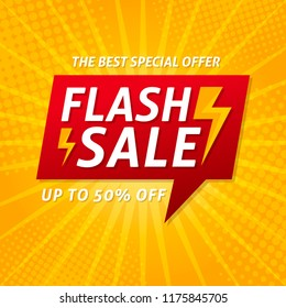 Flash Sale banner template design.Vector illustration.