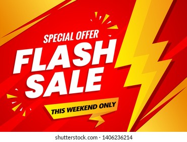 Flash sale banner template red.