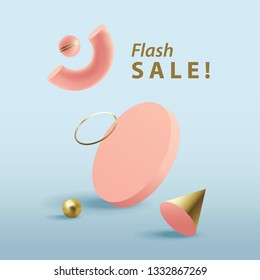 Flash sale banner template in square format with pink 3d geometric objects isolated on blue background