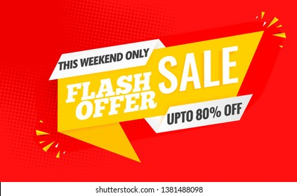 flash sale banner template yellow.Vector red design