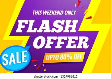 Flash sale banner template.Original poster for discount.Abstract background with text.Vector design