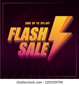 Flash Sale banner with thunder in cyber punk style. Vector illustration