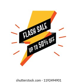Flash Sale Banner with Thunderbolt. Up to 50% Off