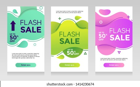 flash sale banners with abtract liquid color. Sale banner template design, Flash sale special offer set - Vector