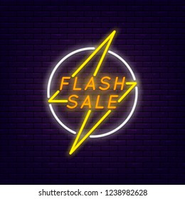 Flash sale colorful neon banner at brick wall. Lightning in circle. Element for presentations, banners, flyers. Vector, isolated, eps 10.