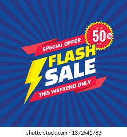 Flash sale - concept promotion banner template vector illustration. Discount up to 50% off. Special offer creative poster layout. This weekend only. Graphic design.