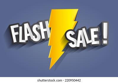 Flash Sale Design With Thunder vector illustration