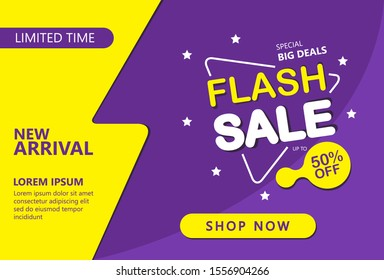 Flash Sale discount banner template promotion. Can be used for advertising and business. Vector Illustration.