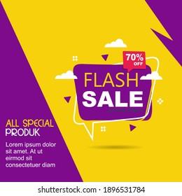 Flash sale discount banner template promotion.vector design