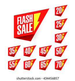 Flash Sale discount labels vector illustration