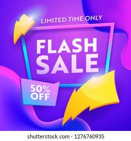 Flash Sale Discount Modern Poster. Online Ecommerce Retail Promotion Wholesale Gradient Template. Lightning Sign on Marketing Coupon Badge Banner Design Vector Illustration