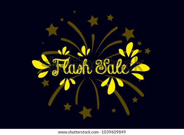 flash sale, label or sign with spark fireworks