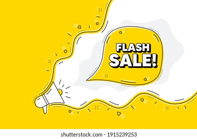 Flash Sale. Loudspeaker alert message. Special offer price sign. Advertising Discounts symbol. Yellow background with megaphone. Announce promotion offer. Flash sale bubble. Vector