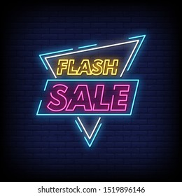 Flash Sale Neon Signs Style Text Vector