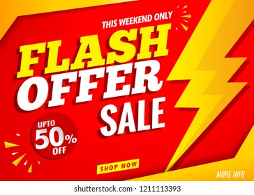 flash sale offer banner red design