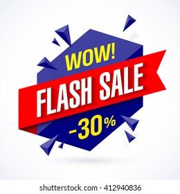 Flash Sale poster, banner. Big super sale, up to 30% off. Vector illustration.