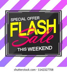 Flash Sale, poster design template, special offer, vector illustration