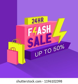 Flash sale promotion background in flat style