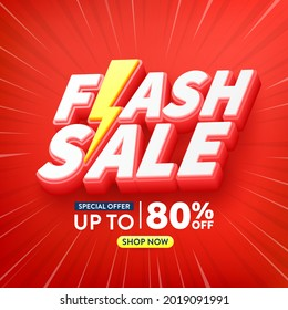 Flash Sale Shopping Poster or banner with Flash icon and 3D text on red background.Flash Sales banner template design for social media and website.Special Offer Flash Sale campaign or promotion.