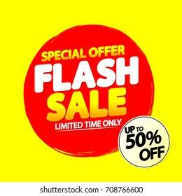 Flash Sale, special offer, up to 50% off, banner design template, vector illustration