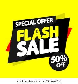 Flash Sale, special offer, 50 percent off, banner design template, vector illustration