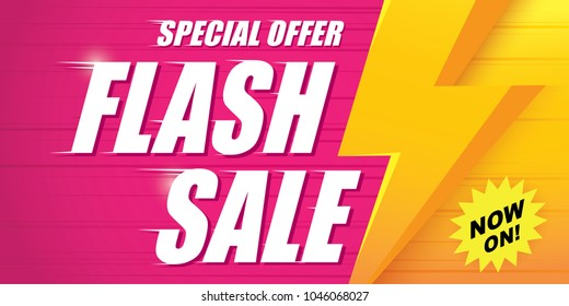 Flash sale special offer clearance banner with thunder. Vector illustration