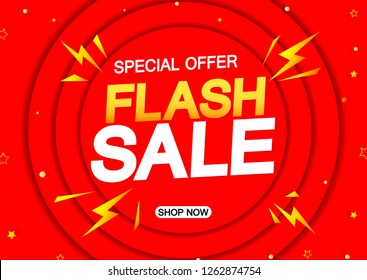 Flash Sale, special offer, horizontal discount poster design template, vector illustration