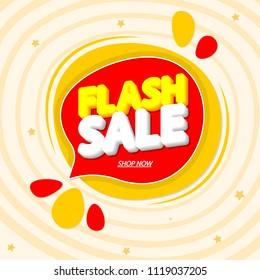 Flash Sale, speech bubble banner, discount tag design template, app icon, vector illustration