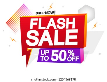 Flash Sale, speech bubble banner design template, discount tag, up to 50% off, vector illustration