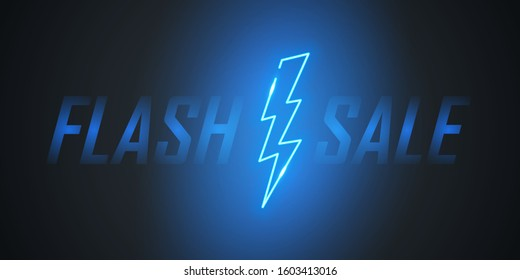 Flash Sale text design with neon lightning bolt for business, discount shopping, sale promotion and advertising. Vector illustration.