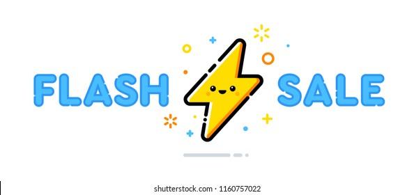 Flash Sale vector design concept. Cute lightning bolt character. Illustration template.