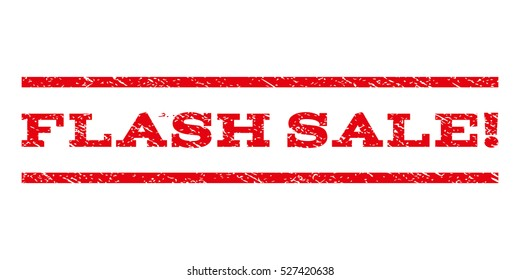 Flash Sale! watermark stamp. Text tag between horizontal parallel lines with grunge design style. Rubber seal red stamp with dust texture. Vector ink imprint on a white background.