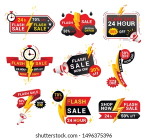 Flash sales shopping promotional labels vector set. One day only discounts badges isolated pack on white background. 24 hours low price special offers advertisement stickers collection