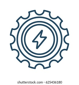 Flash Sign inside Gear vector icon in meaning Engineering