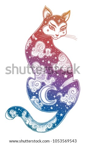 Asian style cat print art