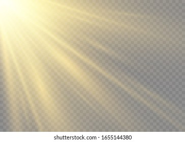 A flash of sun with rays and spotlight. The star burst with brilliance. Yellow glowing lights sun rays. Special lights effect isolated on transparent background. Vector illustration, EPS 10.