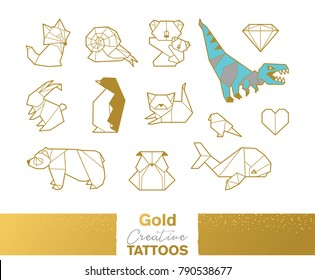 Flash tattoo gold, silver and blue origami geometric set with animals. Gold creative tattos. Design decorative element. Vector illustration
