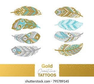 Flash tattoo gold, silver and blue ethnic feather. Gold creative tattos. Design decorative element. Vector illustration