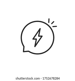 flash in thin line bubble like dispute. flat linear simple style trend modern aha moment logotype graphic art design isolated on white background. concept of web insult and offensive or impatient word