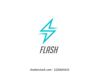 Flash Thunderbolt Energy Power Logo design vector template linear style. Fast speed electricity battery Logotype concept icon.