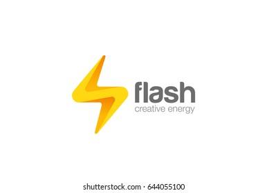 Flash thunderbolt Logo design vector template. Energy Power Electricity Speed Logotype concept icon